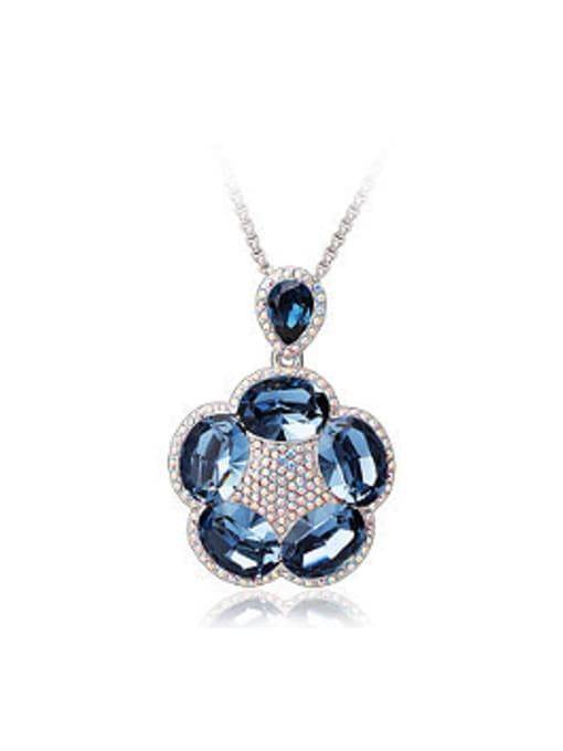 royal blue Fashion Swarovski Crystals Flowery Necklace