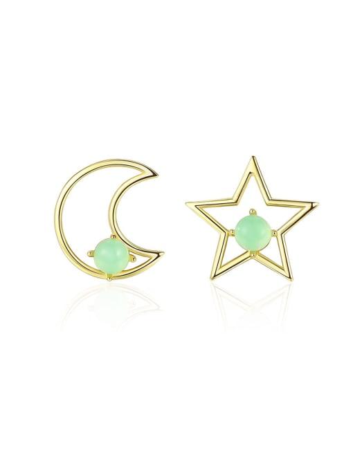 CCUI 925 Sterling Silver With multicolor Opal Cute Stars moon asymmetry Stud Earrings 0