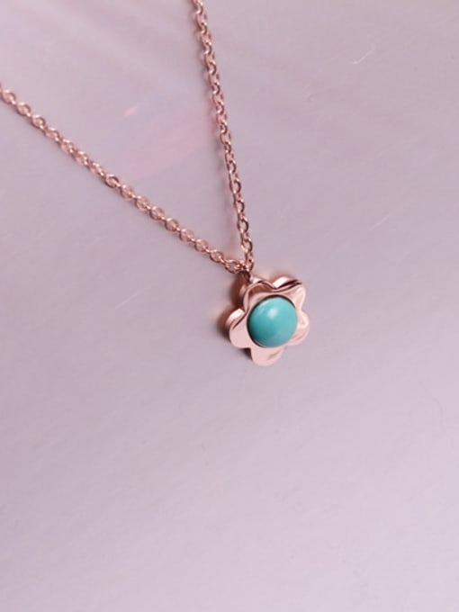 Rose Flower Pendant Blue Stone Necklace 1