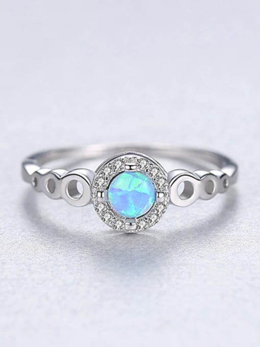 Blue 925 Sterling Silver With Opal  Simplistic Round Band Rings