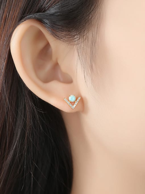 CCUI 925 Sterling Silver With Opal  Cute Triangle Stud Earrings 1