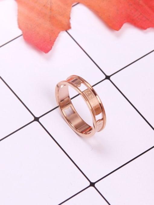 Rose Concave Hollow Titanium Lover Ring 1