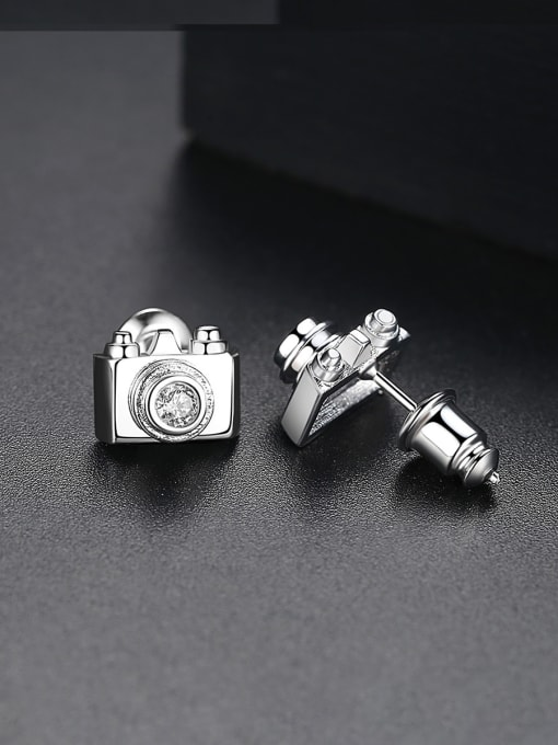 BLING SU Copper With 18k Gold Plated Personality camera Stud Earrings 2