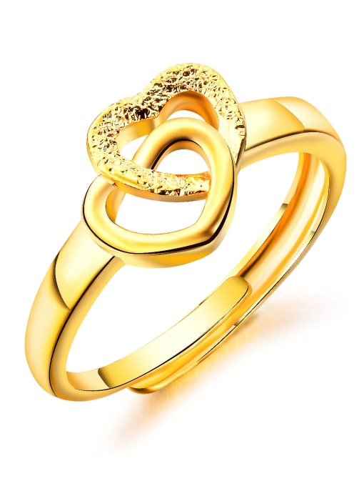 Open Sky Copper With 18k Gold Plated Fashion Heart Wedding Rings