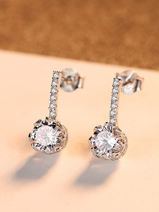 sliver 925 Sterling Silver With  Cubic Zirconia  Cute Round Stud Earrings