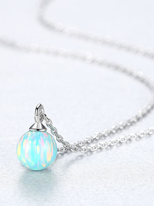 Light blue 925 Sterling Silver With multicolor opal simple  Ball Necklaces