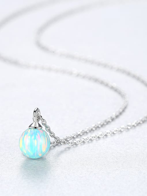 CCUI 925 Sterling Silver With multicolor opal simple  Ball Necklaces 3