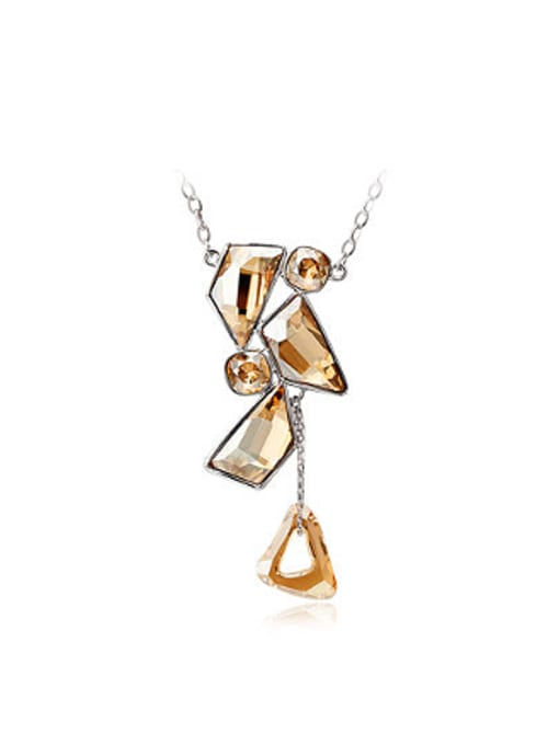 Champagne Fashion Geometrical Austria Crystals Necklace