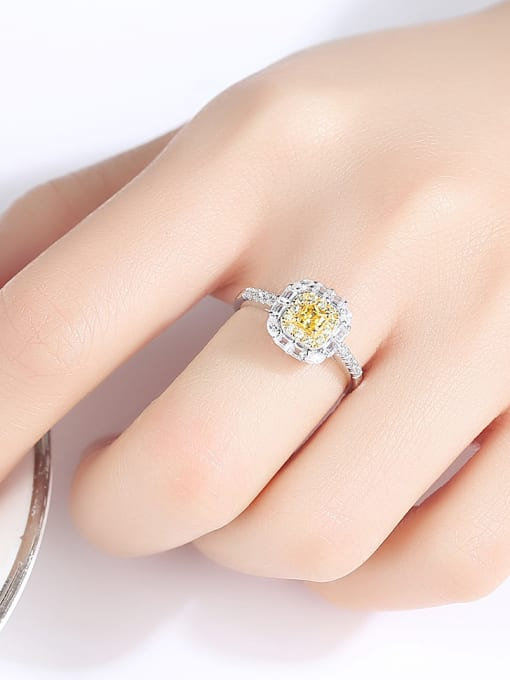 CCUI 925 Sterling Silver With Cubic ZirconiaDeli cate Square Solitaire Rings 1
