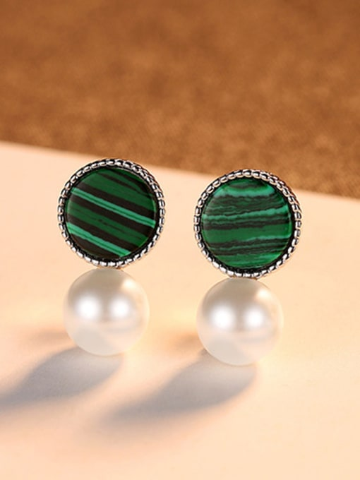 White 925 Sterling Silver With  Artificial Pearl Fashion Round Stud Earrings