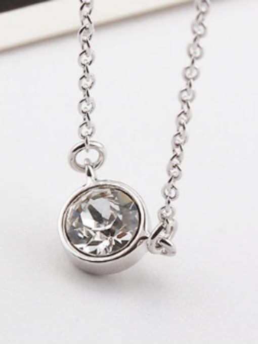 White Simple Round Austria Crystal Necklace