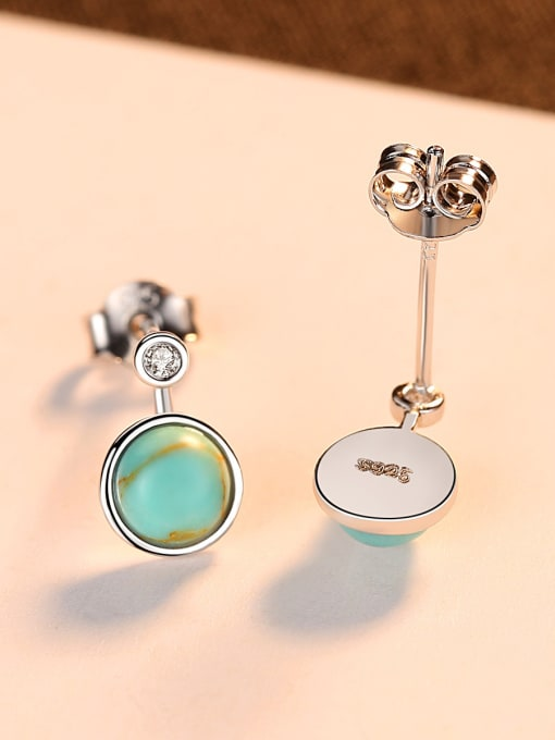 CCUI 925 Sterling Silver With Turtquoise Fashion Round Stud Earrings 3