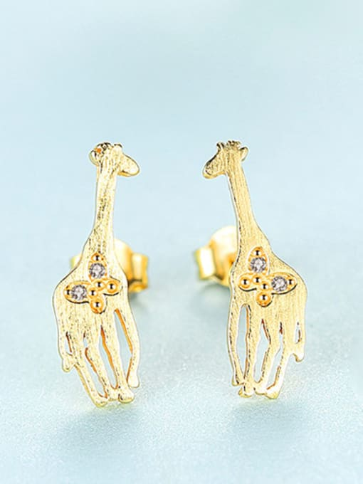 gold 925 Sterling Silver With Cubic Zirconia Cute Animal giraffe Stud Earrings