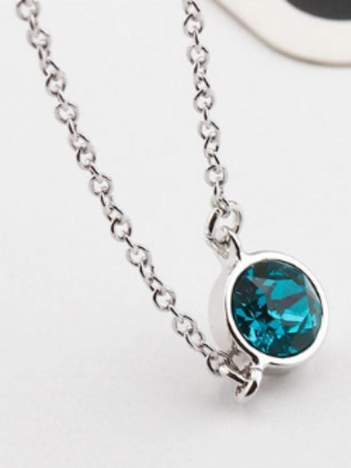 blue Simple Round Austria Crystal Necklace
