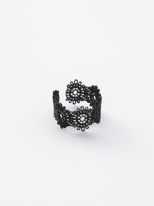 Black Ring Alloy With Gold Plated Trendy Retro lace Ring Bracelet