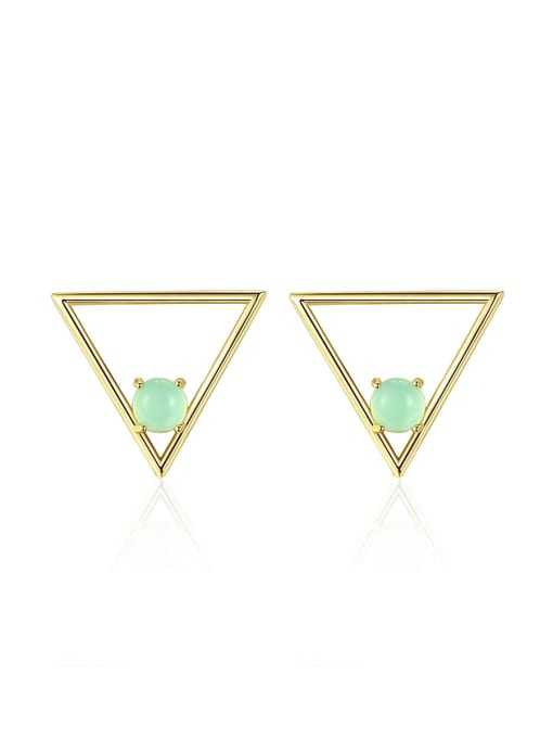 CCUI 925 Sterling Silver With Opal Simplistic Triangle Stud Earrings 0