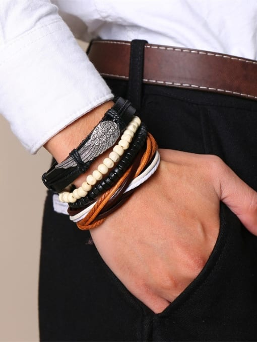 CONG Stainless Steel With PU weaving  Bracelets 3