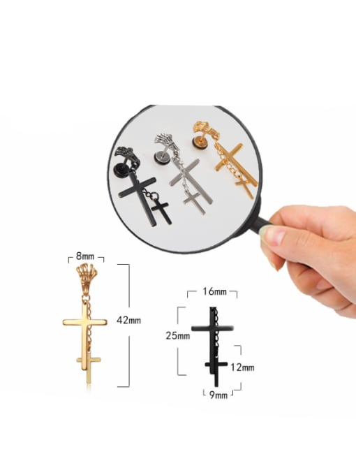 BSL Stainless Steel With Black Gun Plated Personality Cross Stud Earrings 2