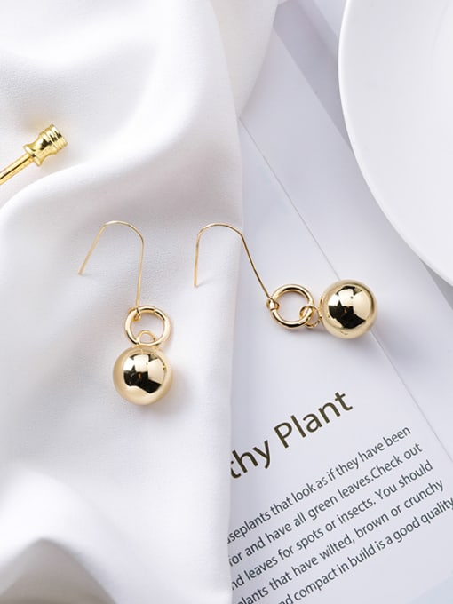 gold Alloy With Gold Plated Casual Ball Drop Earrings