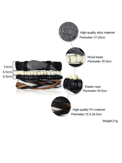 CONG Stainless Steel With PU weaving  Bracelets 1