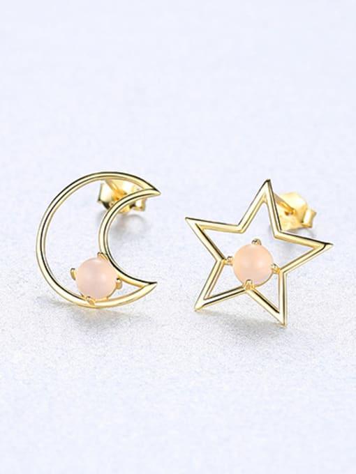 powder 925 Sterling Silver With multicolor Opal Cute Stars moon asymmetry Stud Earrings