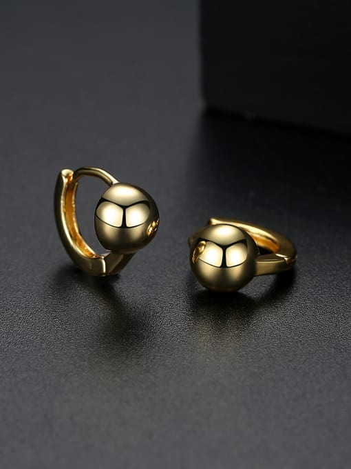 BLING SU Copper With Platinum Plated Casual Ball Stud Earrings 0