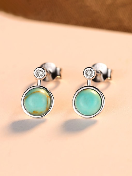 CCUI 925 Sterling Silver With Turtquoise Fashion Round Stud Earrings 2