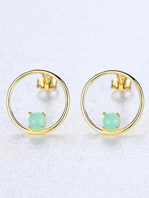 green 925 Sterling Silver With  Turquoise Simplistic Round Stud Earrings