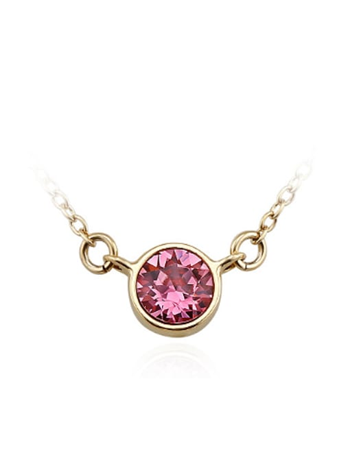 pink Simple Round Austria Crystal Necklace