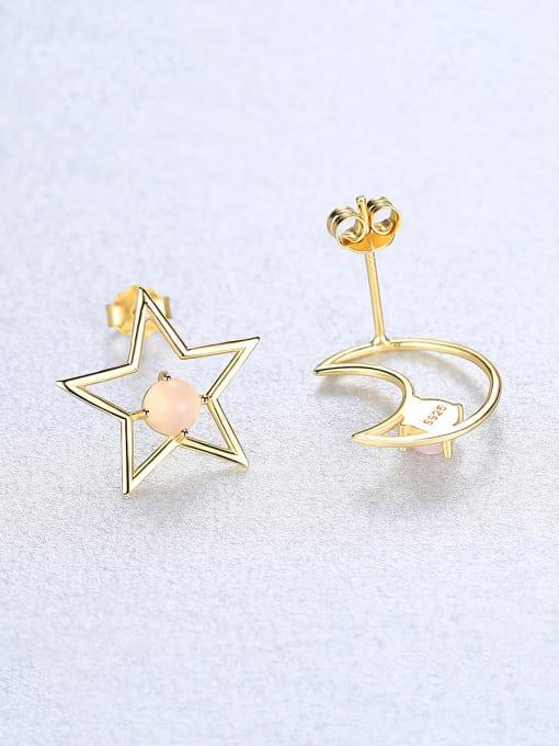 CCUI 925 Sterling Silver With multicolor Opal Cute Stars moon asymmetry Stud Earrings 2