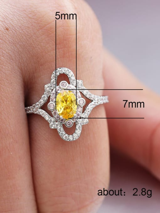 MATCH Copper With White Gold Plated Delicate Oval Cubic Zirconia Engagement Rings 2
