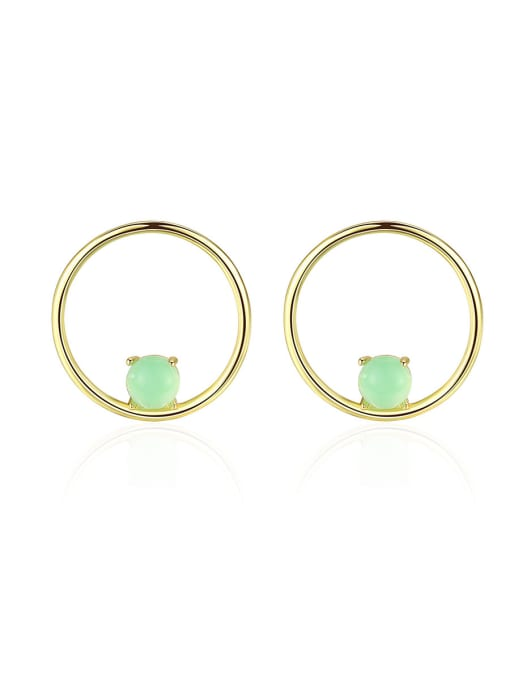 CCUI 925 Sterling Silver With  Turquoise Simplistic Round Stud Earrings 0