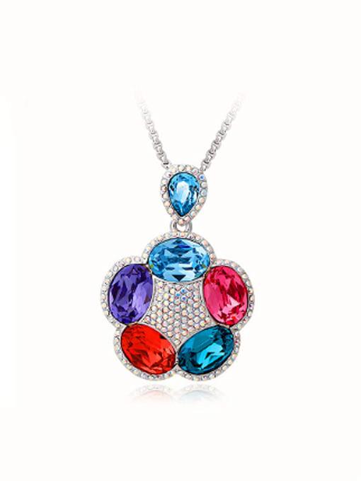 OUXI Fashion Swarovski Crystals Flowery Necklace 0