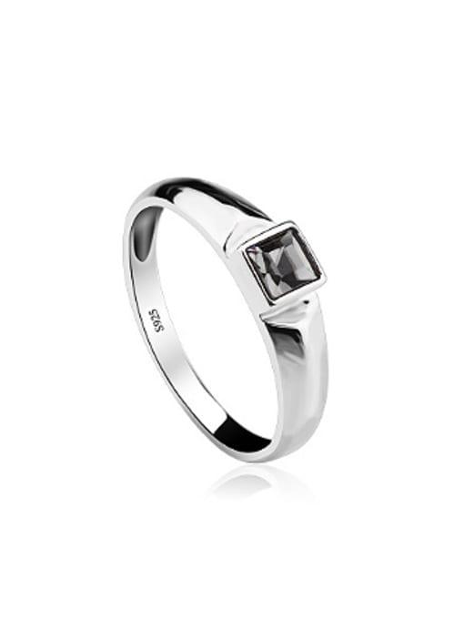 OUXI Fashion Black Zircon Silver Ring 0
