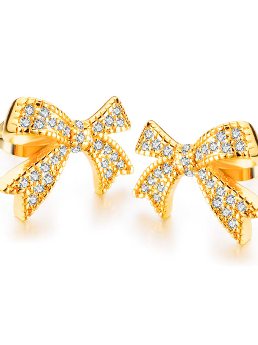 023-18K gold plating Copper With 18k Gold Plated Classic Bowknot Earrings