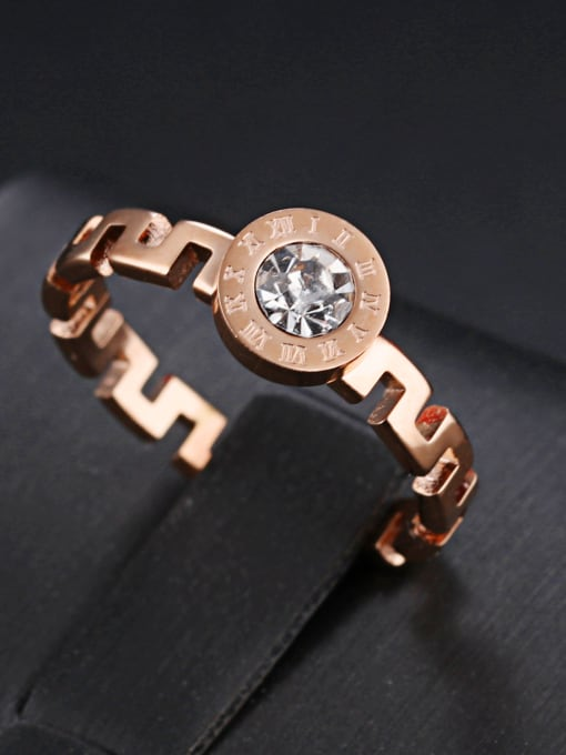 Open Sky Stainless Steel With Rose Gold Plated Fashion The Great Wall pattern Rings 1