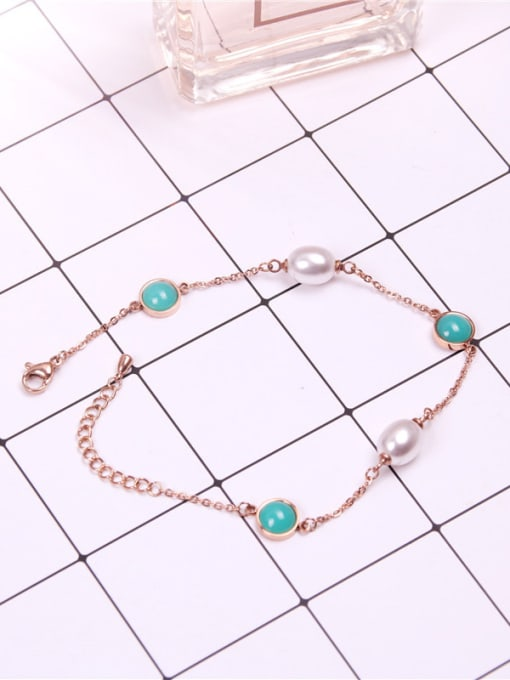 Rose Temperament Shell Pearls Women Anklet 2