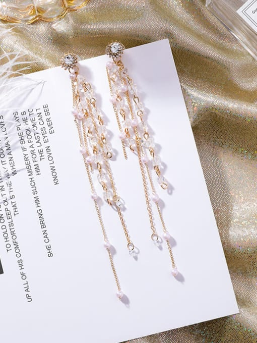 white Alloy With Gold Plated Long section multi-layer tassel Charm Drop Earrings