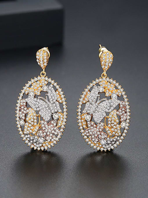 Color Copper With 18k Gold Plated Luxury Butterfly  Cubic Zirconia Stud Earrings