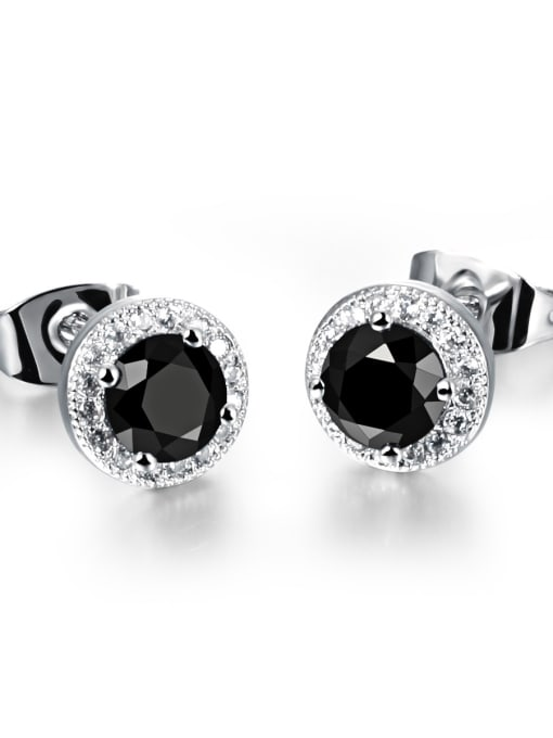 636-black Copper With White Gold Plated Simplistic Round Stud Earrings
