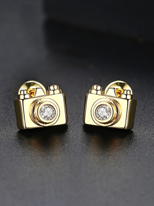 18k-Gold T02C21 Copper With 18k Gold Plated Personality camera Stud Earrings