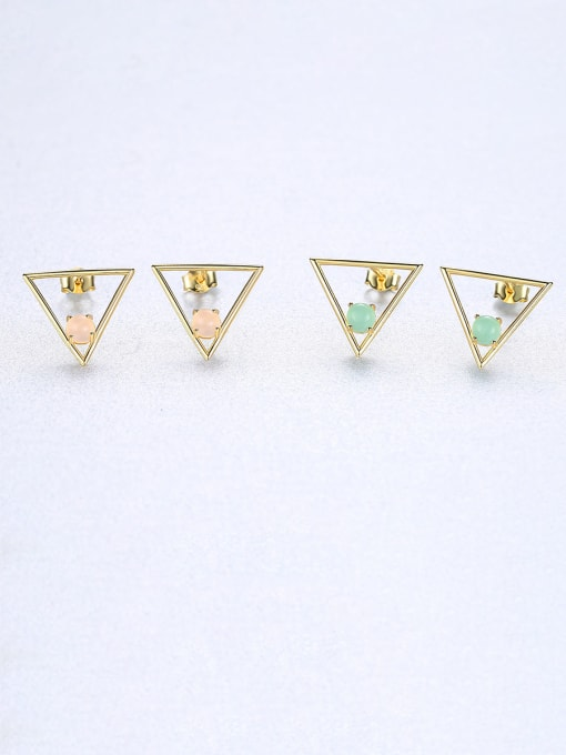 CCUI 925 Sterling Silver With Opal Simplistic Triangle Stud Earrings 2