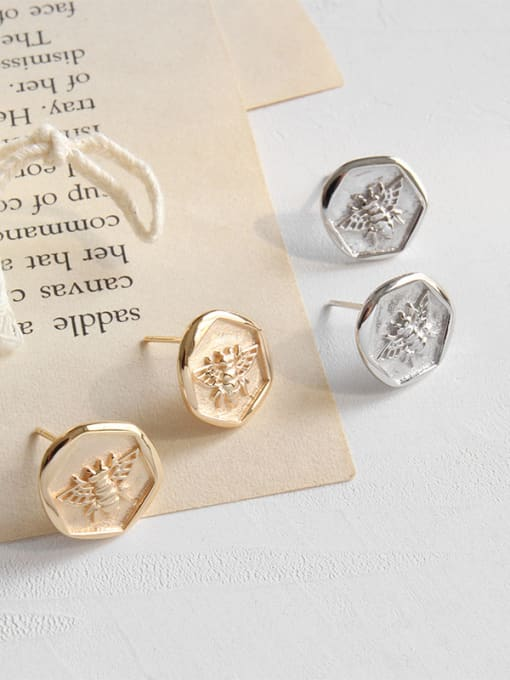 Dak Phoenix 925 Sterling Silver With Champagne Gold Plated Cute Insect bee Stud Earrings