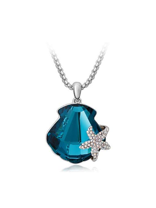 OUXI Fashion Starfish Scallop Austria Crystal Necklace