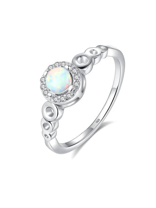 CCUI 925 Sterling Silver With Opal  Simplistic Round Band Rings