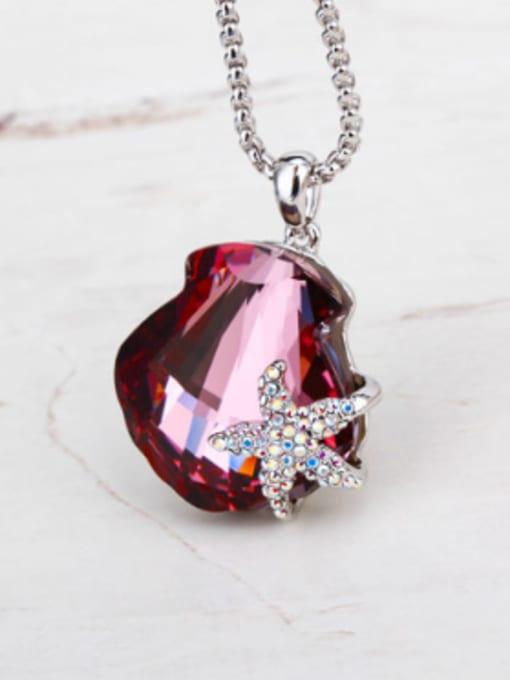 OUXI Fashion Starfish Scallop Austria Crystal Necklace 1