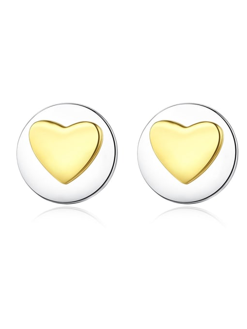 CCUI 925 Sterling Silver With Simple smooth  Heart-shaped Stud Earrings 0