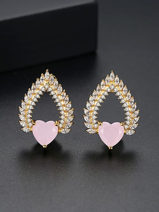Pink-T02E21 Copper With 18k Gold Plated Trendy Heart Cluster Earrings
