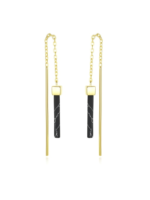 CCUI 925 Sterling Silver With Black cockroach  Simplistic Fringe Threader Earrings