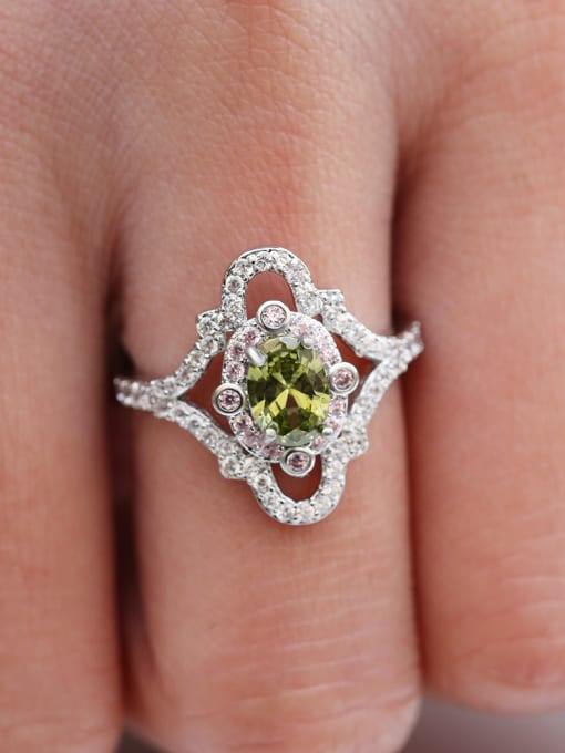 green Copper With White Gold Plated Delicate Oval Cubic Zirconia Engagement Rings
